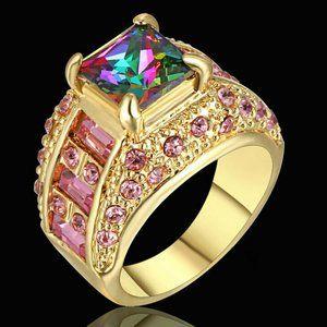3 CT Vintage Princess Rainbow Engagement Ring - 8